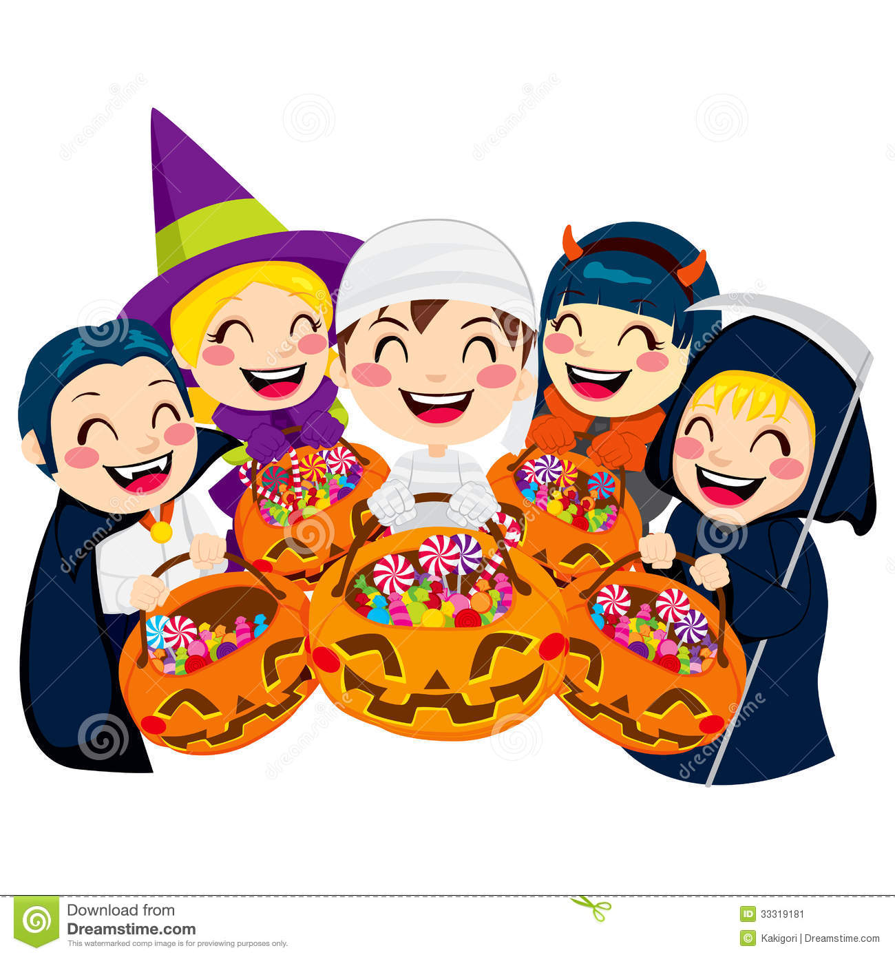 Or Treat Candy Clipart Halloween Kids Candy Five Doing Trick Treat