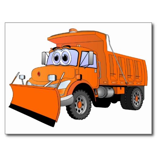 Orange Snow Plow Cartoon Cards | Zazzle