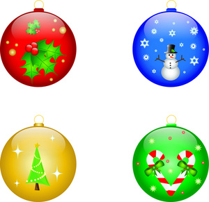 Ornaments Clipart Image Four Christmas Ornaments Showing A Tree