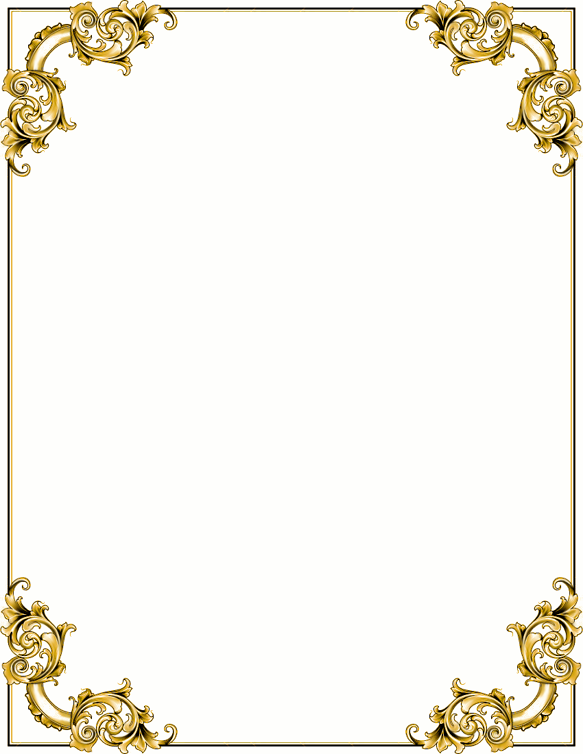Ornate Corners Frame Gold Cli - Gold Frame Clipart