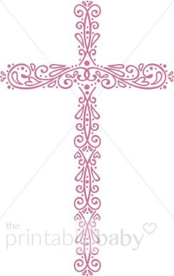 Ornate Cross Clip Art .. - Pink Cross Clip Art