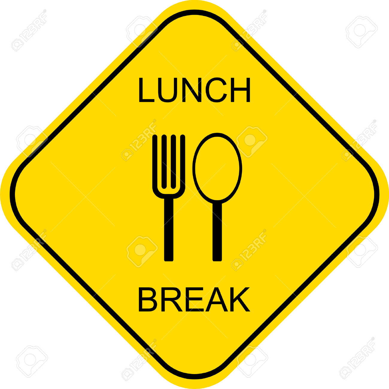 out to lunch: Lunch break. Out to lunch - vector sign.