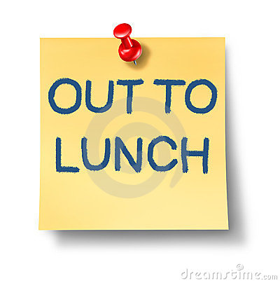 Out To Lunch Office Note With A Yellow P-Out To Lunch Office Note With A Yellow Paper And Red Thumb Tack As An-10