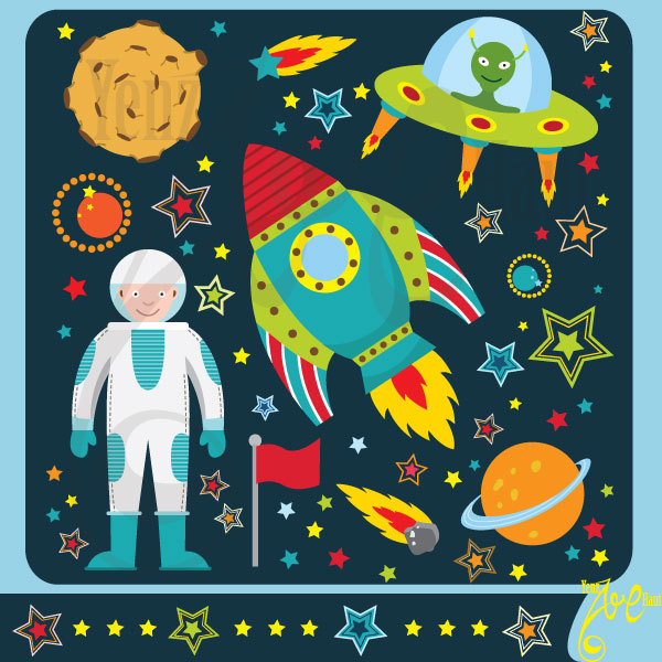 Outer space clipart:u0026quot;OUTER SPACEu0026quot;clip art pack instant download Os001 spaceship,planets,rockets,stars for scrapbooking,card making,invites