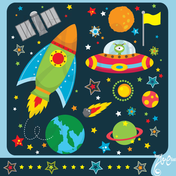 Outer space clipart:u0026quot;OUTER SPACEu0026quot;clip art pack instant download Os002 spaceship,planets,rockets,stars for scrapbooking,card making,invites