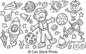 Outer Space Doodle Vector . - Space Clipart Black And White