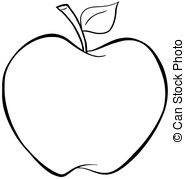 ... Outlined Apple - Illustration Of Outlined Cartoon Apple