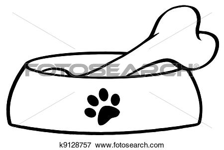Outlined Dog Bowl With Big Bo - Dog Bowl Clipart