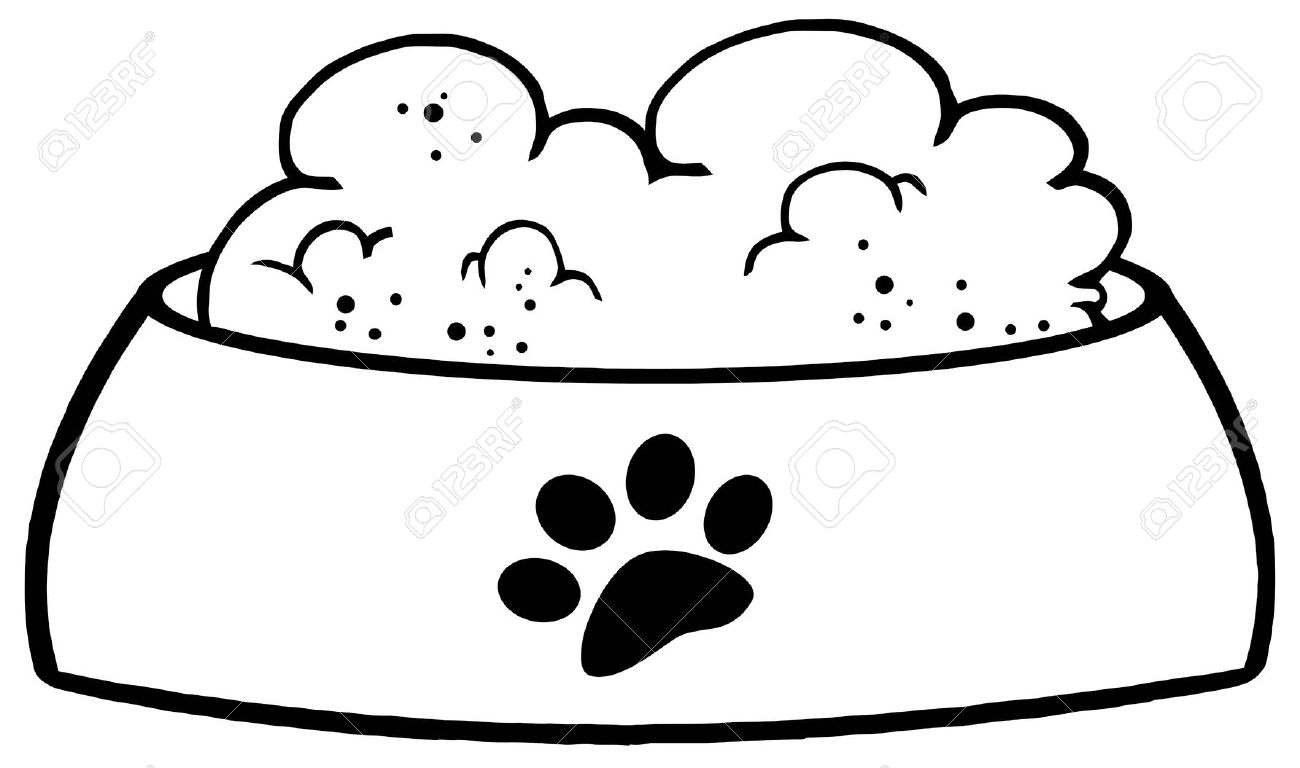 Outlined Dog Bowl With Food . - Dog Bowl Clipart