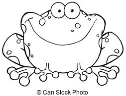 Outlined Speckled Toad Smiling - Outlined Happy Frog Cartoon.