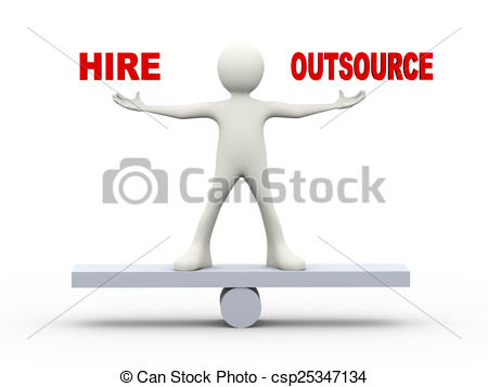 3d man balance hire outsource - csp25347134