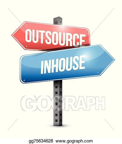 outsource, in-house street sign