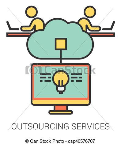 Outsourcing services line icons. - csp40576707