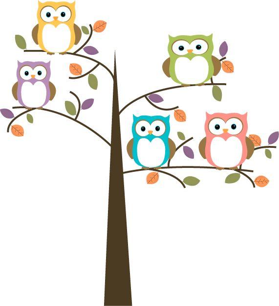 Owl Cartoon | Colorful Owls in Pretty Tree Clip Art - Colorful Owls in Pretty Tree