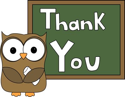 Owl Chalkboard Thank You - Clip Art Thanks