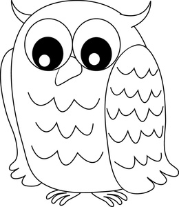 Owl Clipart Image Black And White Owl With Wide Eyes