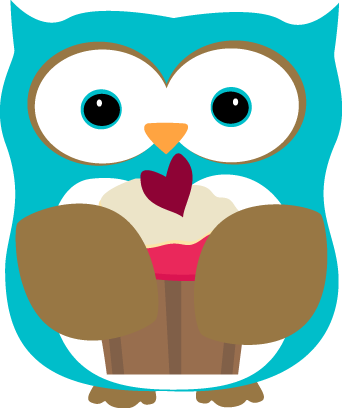 Owl Eating a Cupcake - Owl Pictures Clip Art