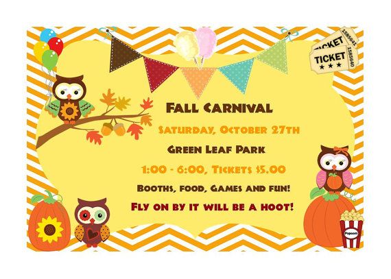 Owl Fall Festival Carnival Birthday Invitationalohapartyprints