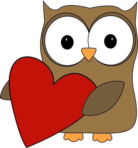 Owl with a Big Valentine Hear - Valentines Clipart