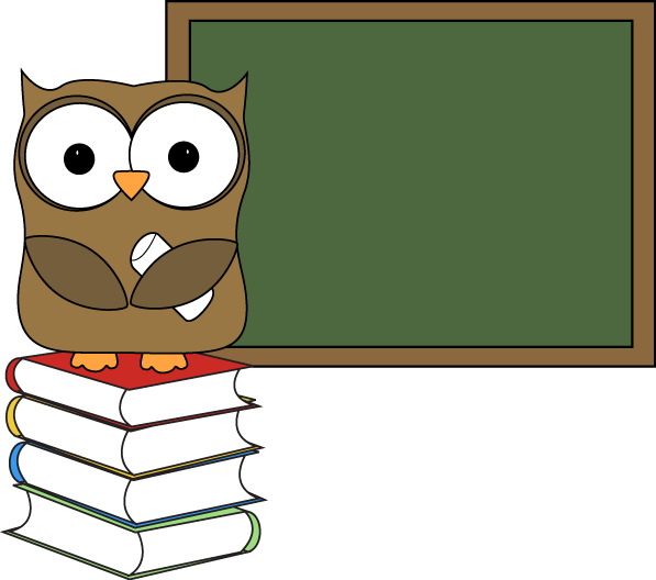 Owl with Books and Chalkboard Clip Art - Owl with Books and .