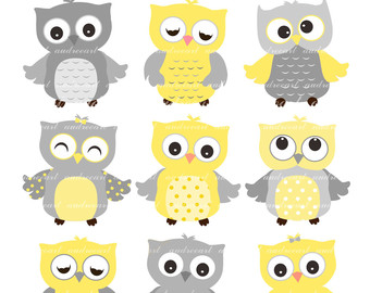 Owls clip art , 9 baby owls clip art, yellow Owls, grey and yellow owls, cute owls , color owls, owl , instant download