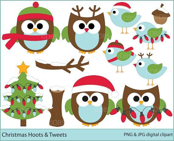 Owls clipart christmas digital clip art birds woodland - Christmas Hoots and Tweets Digital Clipart $5