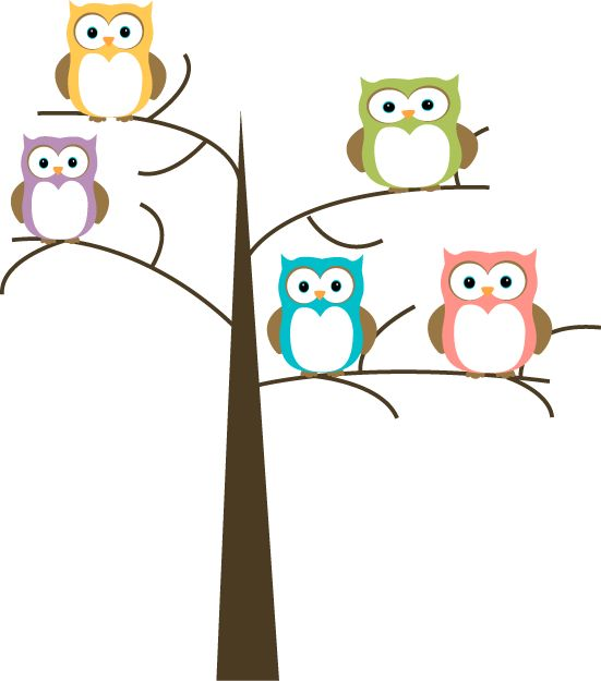 Owls in a Tree Clip Art - Owl - Owl Pictures Clip Art