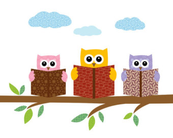 Owls Reading Books On A Tree Branch Prin-Owls Reading Books On A Tree Branch Print Poster Illustration-10