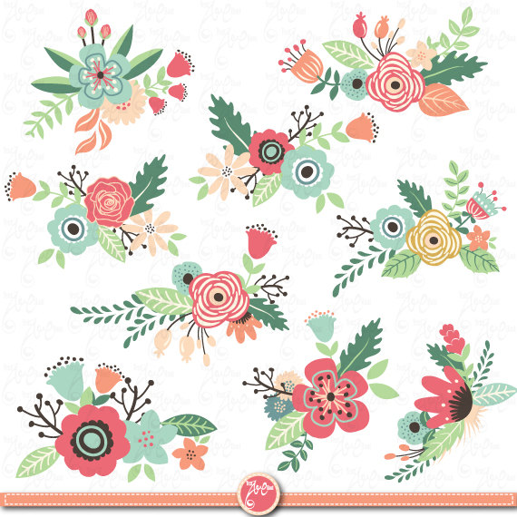 Pack de fleurs Clipart pack « Fleur cli-Pack de fleurs Clipart pack « Fleur clipart », Vintage fleurs, fleurs de printemps-7