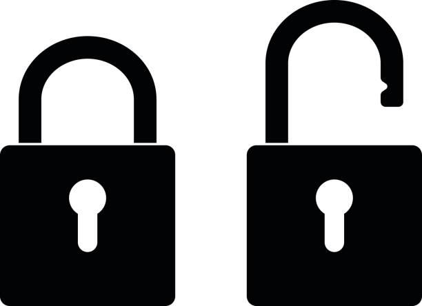 Locked and unlocked padlock vector art illustration