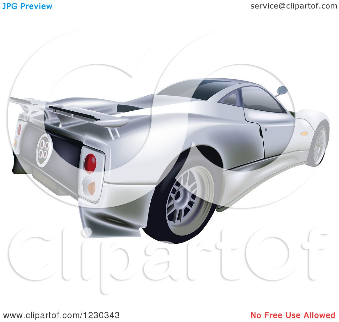 Clipart of a Silver Pagani Zonda C12S Sports Car - Royalty Free Vector  Illustration by dero
