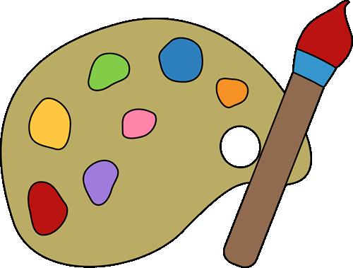Paint Palette and Brush - Paint Palette Clipart