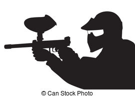 ... Paintball player in silhouette