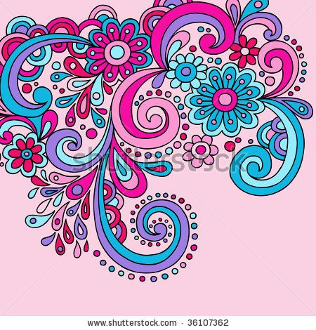 Paisley Clip Art | Psychedelic Groovy Abstract Paisley Swirls Vector - stock vector