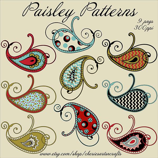 Paisley Patterns, 9 PNG Files, Paisley Graphics, Paisley Clip Art Set, Beautiful Paisley Clipart Kit, Instant Download, Clip Art Kits