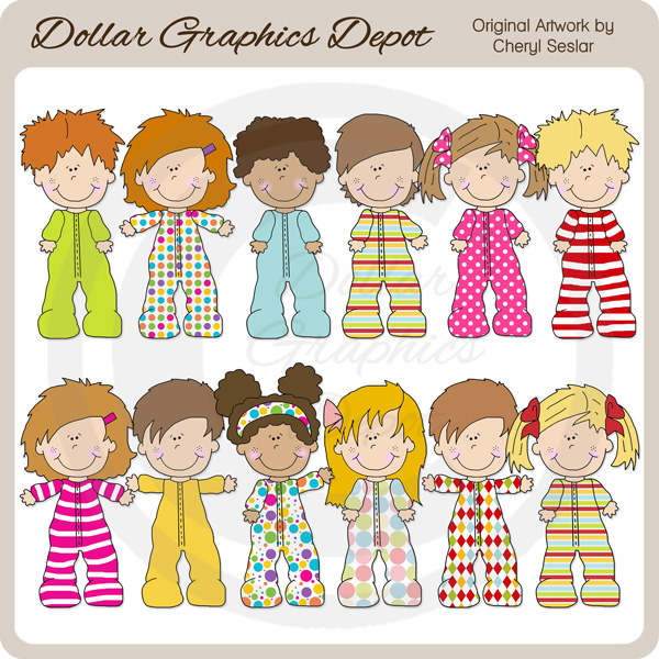 Pajama Kids - Clip Art-Pajama Kids - Clip Art-11
