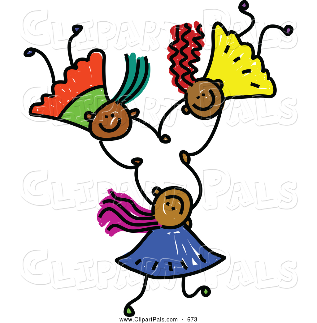 Pal Clipart Of A Childs Sketch Of Three Grinning Kids Holding Hands