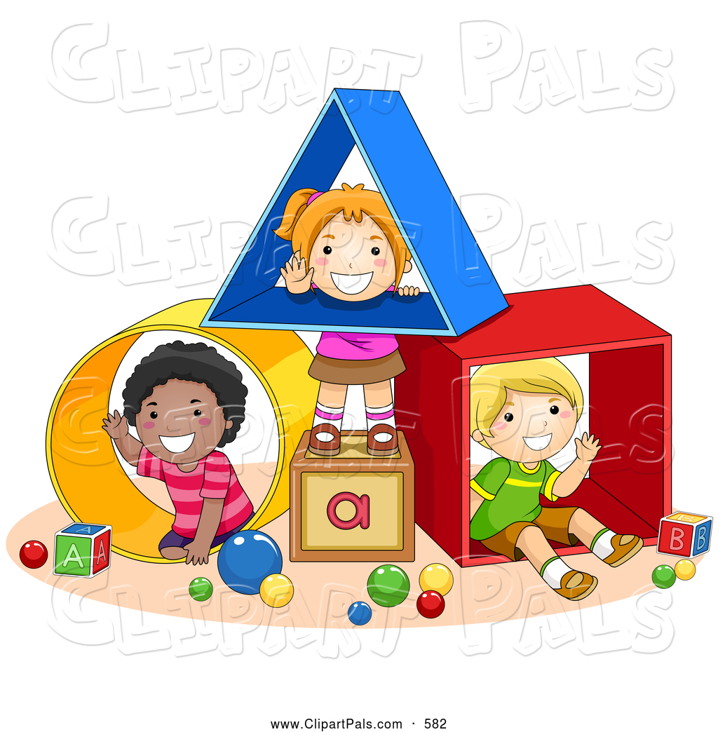 Pal Clipart Of Diverse School Kids Playi-Pal Clipart Of Diverse School Kids Playing With Shapes At A Daycare By-18