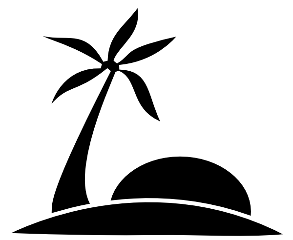 palm tree clipart black and white