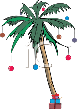 Palm Tree Decorated with Christmas Ornaments - Royalty Free Clip Art Illustration