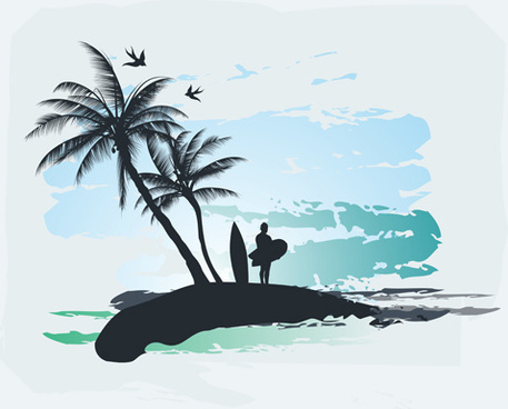 Palm With Beach Background Vector-palm with beach background vector-16