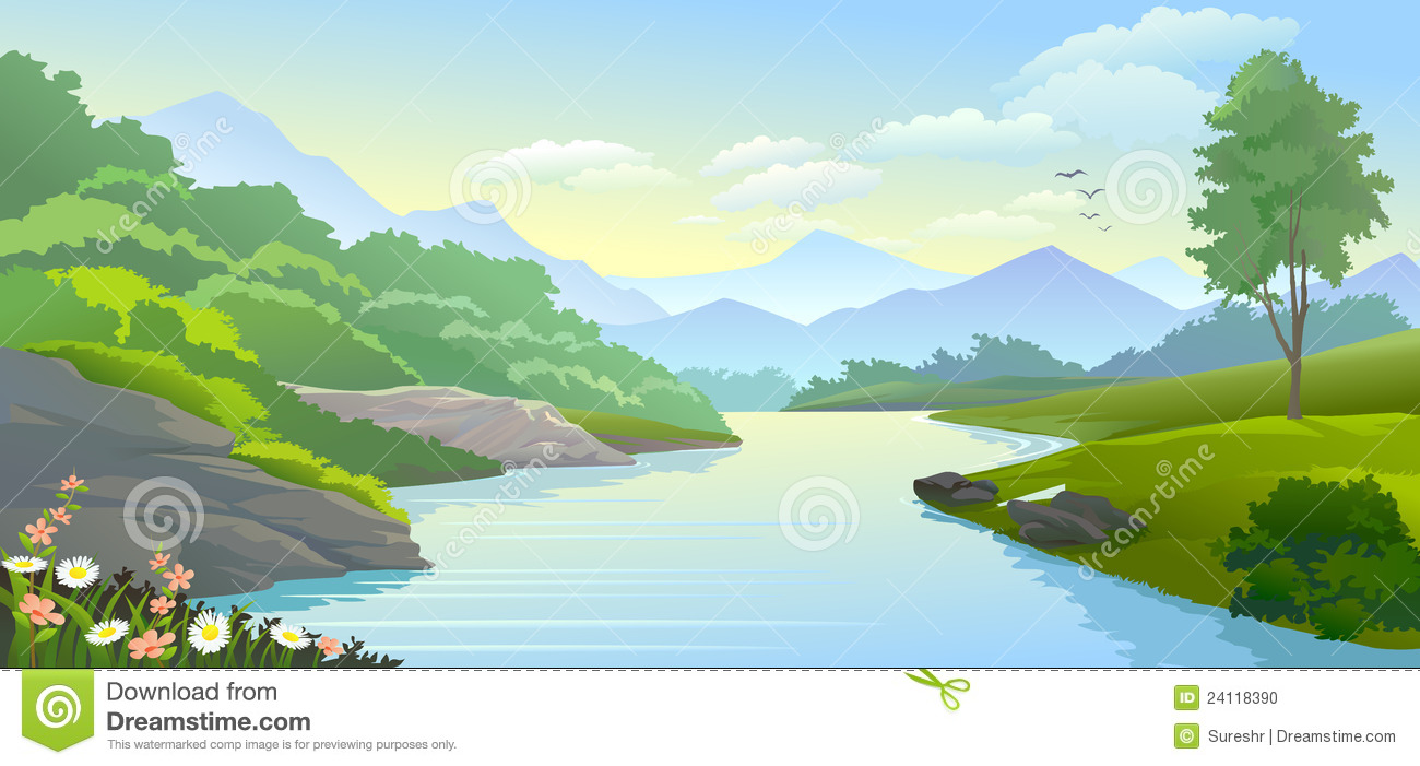 Panoramic View Of River Flowing In A Val-Panoramic View Of River Flowing In A Valley With Scenic Surroundings-5