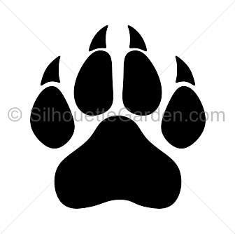 Panther paw print silhouette clip art. Download free versions of the image in EPS, JPG, PDF, PNG, and SVG formats at http://silhouettegarden clipartall.com/dou2026