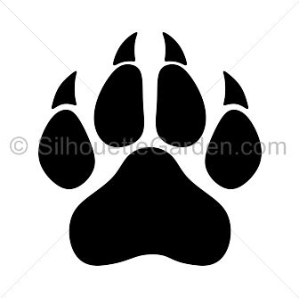 Panther paw print silhouette clip art. Download free versions of the image in EPS,