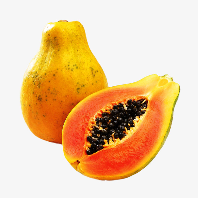 dissected papaya, Papaya, Fruit, Yellow PNG Image and Clipart