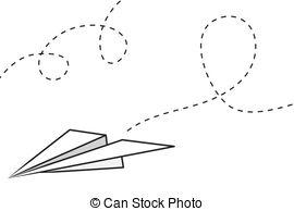 Paper Airplane - Isolated Paper Airplane-Paper Airplane - Isolated paper airplane with flying trail.-11