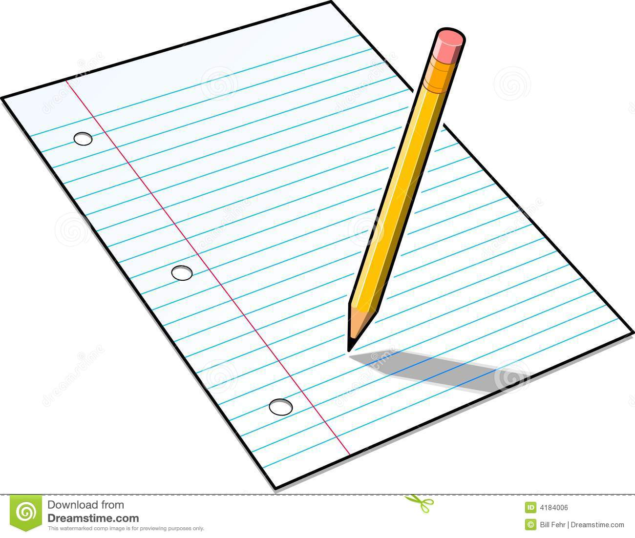Lined Paper And Yellow Pencil