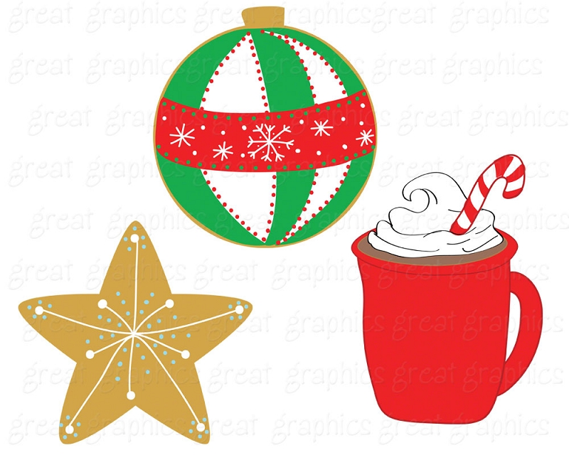 Paper Clip Art Christmas Digital Printable Christmas Cookie Clip Art