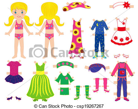 Paper Doll And Clothes Set For Her - Csp-Paper doll and clothes set for her - csp19267267-11