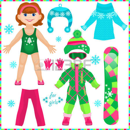paper doll: Paper doll with a set of clothes. Cute fashion girl. Template